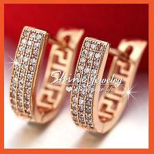 24K ROSE GOLD GF SOLID WEDDING LADY GIRLS LAB DIAMOND HOOP SLEEPER EARRINGS GIFT