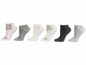 Polo Ralph Lauren Socks Women's 6-Pairs White Assorted Ankle Sz 9-11 Fits 4-10.5