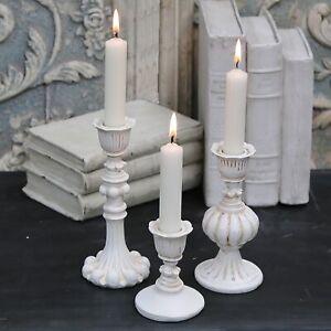 Kerzenleuchter Stabkerzen 3er Set Chic Antique Brocante Shabby weiß Antik-Creme
