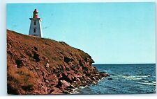 Souris Lighthouse Prince Edward Island PEI Canada Cliff Vintage Postcard B36
