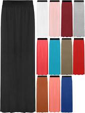 New Womens Plain Stretch Elasticated Ladies Full Length Long Maxi Skirt 8-14