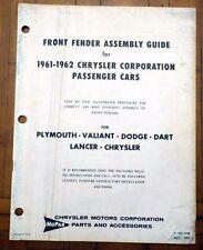 1961-1962 DODGE PLYMOUTH CHRYSLER FENDER ASSEMBLY GUIDE BOOKLET MOPAR