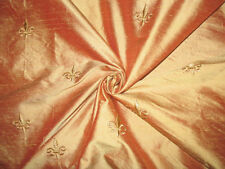 Embroidered Silk Dupioni Fabric ~ Fleur de Lis ~ Levar du Soleil