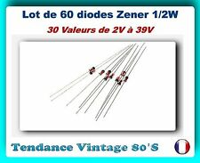 *** LOT DE SOIXANTE DIODES ZENER 0.5 WATTS - 30 VALEURS ASSORTIES ***