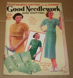 August 1937 Good Needlework & Knitting Magazine - Great Adverts & 1 Transfer