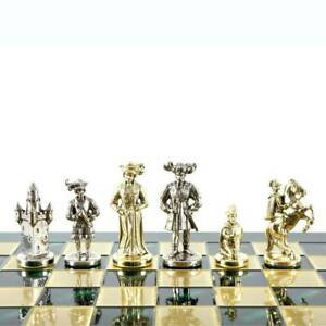 Manopoulos Knights Large Chess Set - Brass Nickel Pawns - Green chess Board