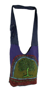 Zeckos Tree of Life Fully Lined Cotton Canvas Cross Body Bag