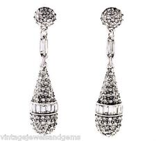 SILVER CLEAR WHITE DIAMANTE CRYSTAL RHINESTONE Art Deco Chandelier Drop Earrings