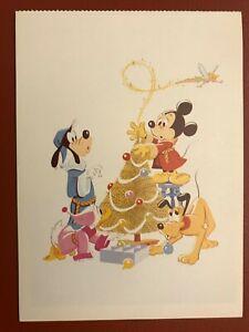 POSTCARD UNUSED DISNEY CHRISTMAS CARD 1982 FEATURES MICKEY, DONALD, PLUO, GOOFY
