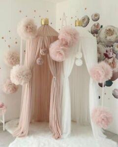 Lace Pom Poms Bed Canopy Net Decoration Hanging 3 Colour 2 Sizes AU Stock