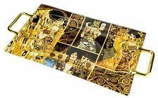 "Carmani 18 x 10"" Decorative Glass Tray with Artworks by Gustav Klimt, Gift Box"
