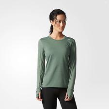 adidas Performance Womens Supernova Long Sleeve Running Gym T-Shirt Top - Green