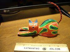 Oaxacan Wood Carving Cat Oaxaca Mexican Folk Art MARIO DE LA  PENA signed