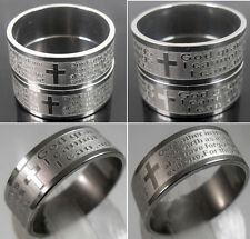 50x Jesus Lord's Prayer Serenity Prayer Men's Bibie Stainless Steel Cross Rings