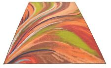 Abstract Rainbow Waves Slip Skid Resistant Rubber Backing Runner Rug 7' x 9'