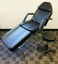 Adjule Exam Medical Dental Chair And Portable Stool Black Brand New