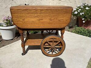 Vintage Antique Wooden Wagon Drop Leaf Tea Bar Serving Cart