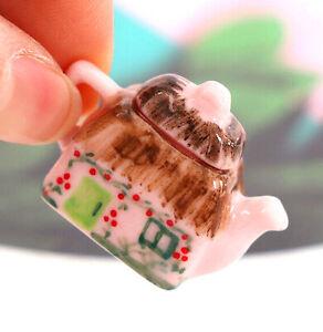 Miniature Mixed Teapot Set - Cottage Teapot, Teapot Clock, Cat Clock, Polka Dot+