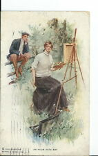AU-075 - An Hour with Art, Harrison Fisher Signed Postcard, Golden Age 1908 Vntg