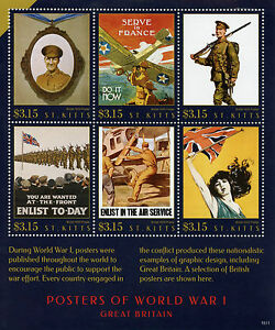 St Kitts Stamps 2015 MNH WWI WW1 Posters of World War I Great Britain 6v M/S