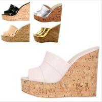 Women Cork Wedge Sandal Peep Toe Platform Mules High Heel Summer Shoes  35/45 L