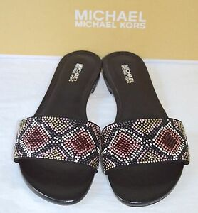 New $110 Michael Kors Mercer Slide Suede Hot Fix Pink/Black Multi Sandal Leather