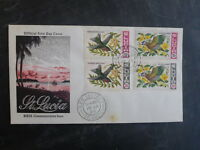 1969 St LUCIA BIRDS/ ORCHIDS SET 4 STAMPS FDC FIRST DAY COVER