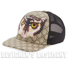 57cd3970e7ce5 GUCCI beige L Supreme GG OWL coated Canvas mesh back Baseball Hat cap NWT  Authen