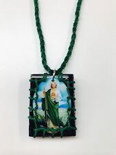 Escapulario cuadrado de madera de San Judas Tadeo color Verde