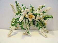 Antique bridal flowers & buds Art French Beaded Seed crystals multi décor #3