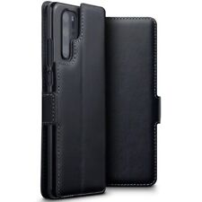 Huawei P30 Pro Genuine Leather Slim Wallet Card Case with Stand in Black