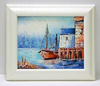 Oil Painting Boat Dock 8 x 10 Art Oil Painting on Canvas w/White Wooden Frame