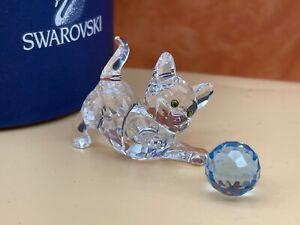 Swarovski Figur 631856 Katze mit Blauen Ball 5 cm. - Ovp + Zertifikat - Top