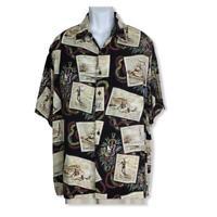 Reyn Spooner Mens Art Eddy Y Hawaiian Aloha Surfer Camp Shirt Rayon Size XL