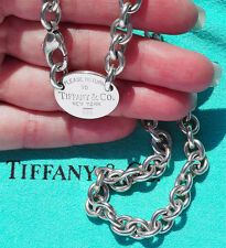 Tiffany & Co Plata volver a Tiffany Oval Etiqueta Gargantilla Collar