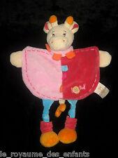 Doudou plat Girafe Vache Maé Babynat' Baby Nat' écru rose orange bleue 29 cm