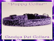 "* Handmade *  Purple Sparkle Chihuahua Teacup Puppy Dog Collar 6.5""-8"""