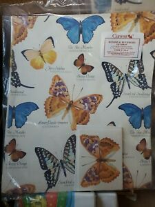 Vtg Botanical Butterflies Gift Wrap Wrapping Paper & Cards 1988 Current (p3)