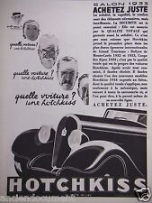 PUBLICITÉ 1933 HOTCHKISS SALON 1933 ACHETEZ JUTE - ADVERTISING
