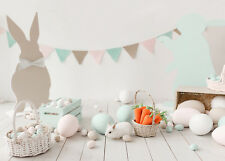 7X5FT Vinyl Easter Party White Bunny Eggs Studio Backdrop Photography Background