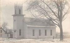 Randolph Iowa~Presbyterian Church in Snow~House Next~Visiting my Aunt~1909 RPPC