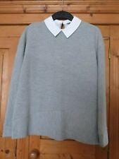 Ladies Grey Peter Pan Collar Long Sleeved Top Size 12 TU