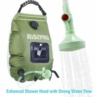 Solar Shower Bag Risepro 5 Gallons/20L Heating Premium Camping Shower Head Durab