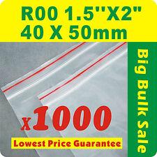 "1000 x R00 40X50mm(1.5""X2"") Resealable/ Zip Lock ZipLock Plastic Seal Bags"