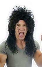 Mens Black 80's Alice Hard Rocker Heavy Metal Kiss Punk Wig Fancy Dress Costume