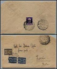 REGNO - FERMO POSTA - Busta Amb. Catanzaro Mar. Reggio x Locri 1.8.1939-Tx 25c