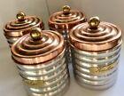 Vintage Italian Aluminium Copper Brass Zucchero Sugar Canister Cafe Set Of 4