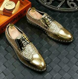 Men's Shiny Leather Party Glitter Leather Dress Lace Up Brogues Wing Tip Shoes