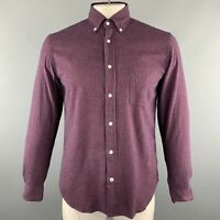 HARTFORD Size M Burgundy Plaid Cotton Button Up Long Sleeve Shirt