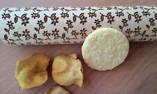 Wooden Rolling Pin Laser Cut Beatiful Small Flower Tracery Pattern Embossing